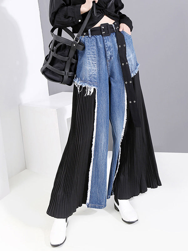 Loose Split-joint Pleated Jean Pants
