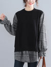 Splice False Two Plaid Round Neck Sweater