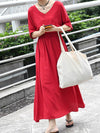 Loose Solid V-neck Short Sleeves Dress