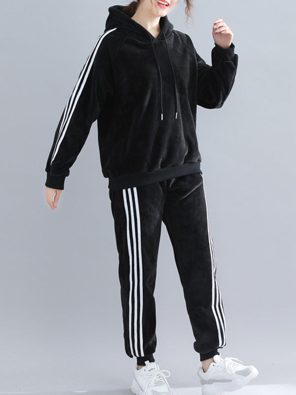 Two-Pieces Velvet Sports Hoodie And Pants Set