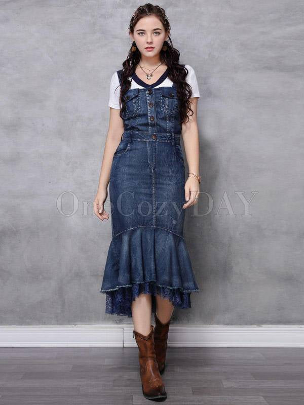 Vintage Splicing Sleeveless Jean Mermaid Dress