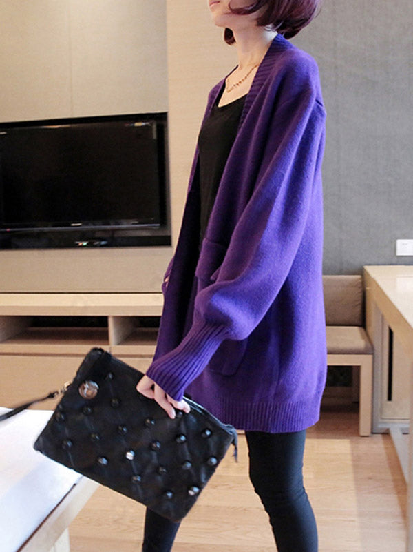 Loose Solid Split-Joint Knitting Sweater Cardigan