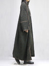 Contrast Color Pleated Long Coat