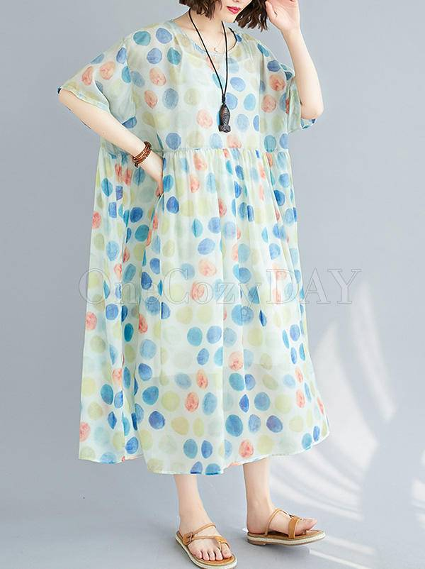 Loose Colorful Polka-Dot Splicing Round Neck Dress