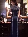 Beaded Sequined Long Cheongsam Evening Dress