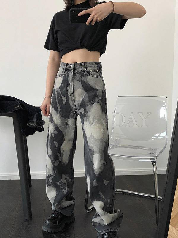 Loose Tie-Dyed Empire Jean Straight-Leg Pants