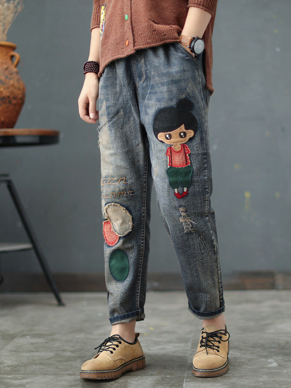Vintage Embroidered Applique Elastic Waist Jean Pants