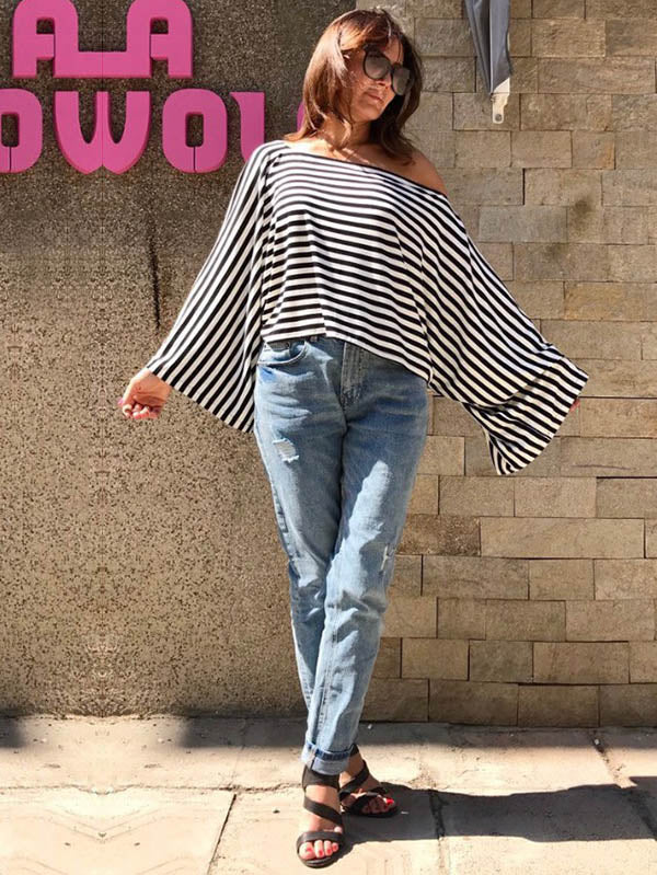 Loose Striped Batwing Sleeves Shirt Top