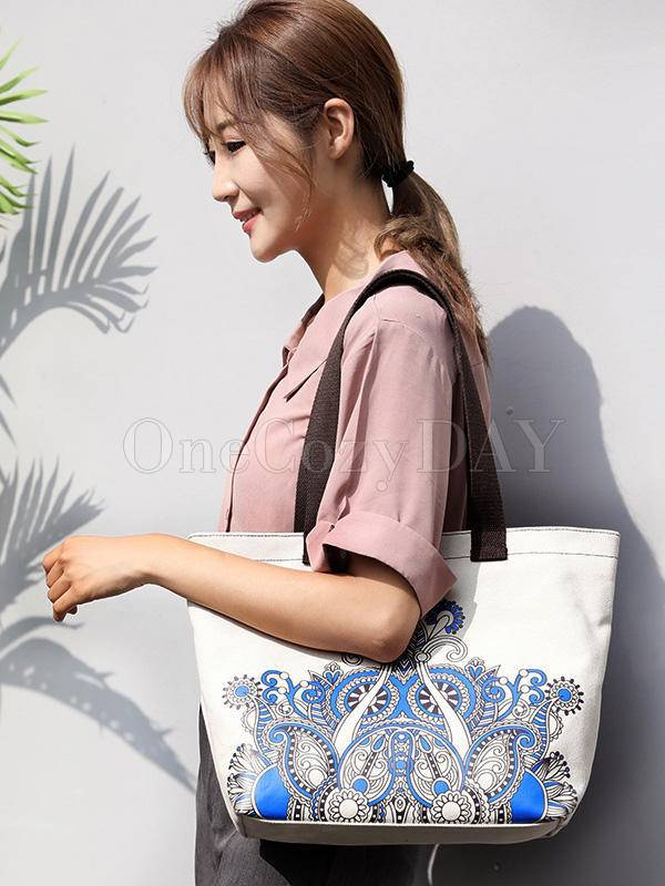 Ethnic Style Printed Zipper Canvas Bag