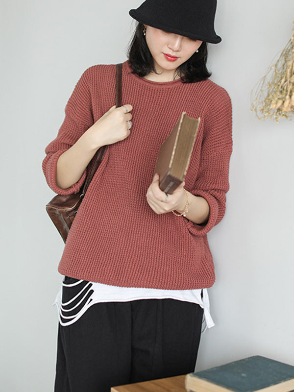Loose Solid Off-the-shoulder Knitting Sweater