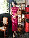 Burgundy Printed Stand-collar Long Cheongsam