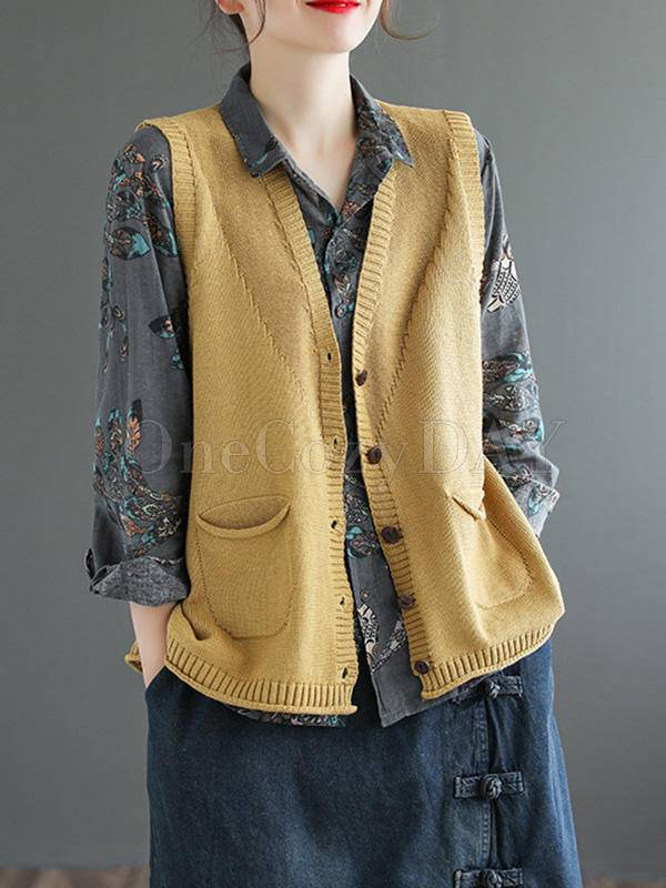 Artistic Retro Solid With Pocket Vest