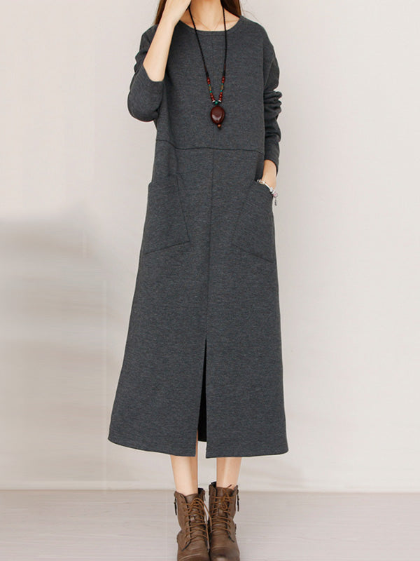 Split-side Pocket Long Dress