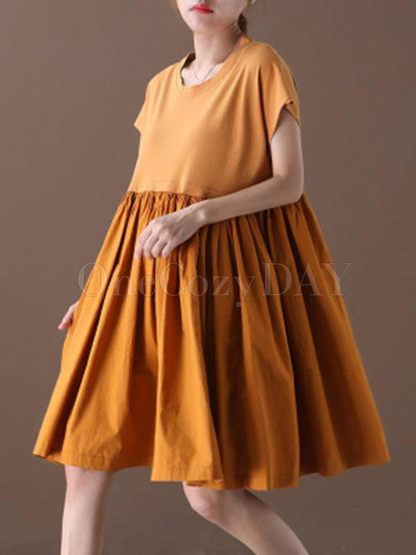 Artistic Retro Round-Neck Dress