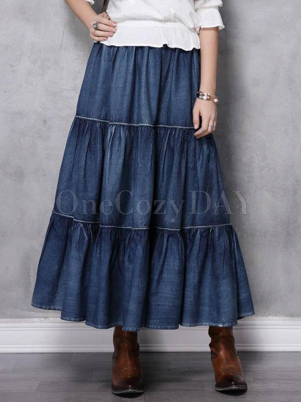 Vintage Splicing Pleated Jean Skirt
