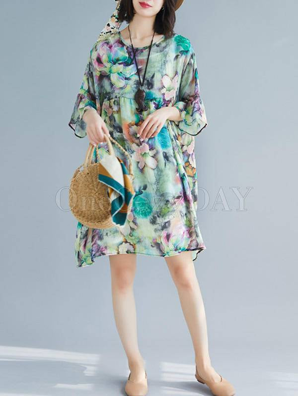 Two-Pieces Loose Floral Round Neck Dress And Suspender Suit
