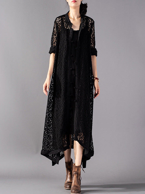 Casual Hollow Cropped Long Cover-up