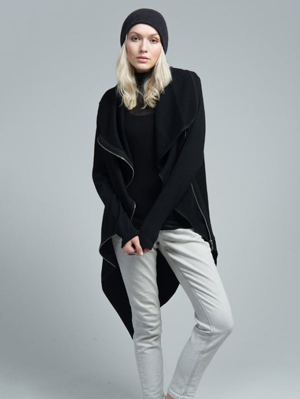 Black Cropped High-Low Zipper Outwears
