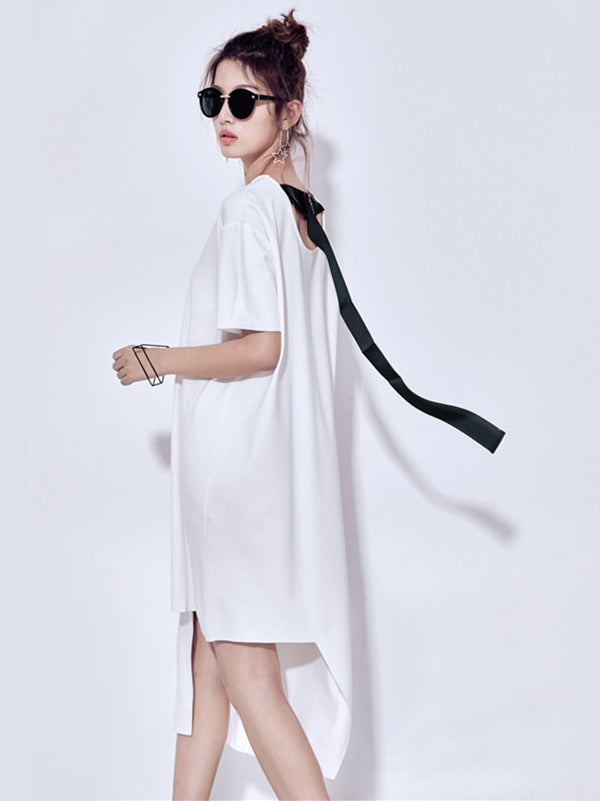 Loose Streamer Split-joint Dress