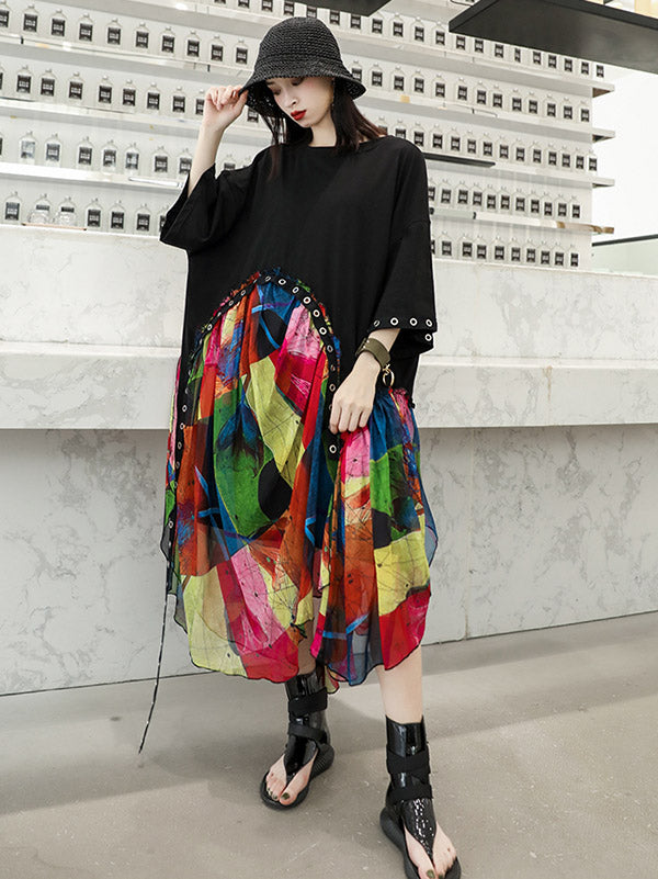 Summer Chiffon  Oversize Printed Split-joint Dress
