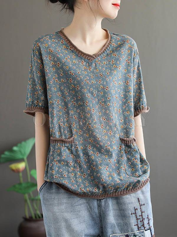 Vintage Floral Loose V-Neck T-Shirt