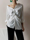 White Loose Cross-Over Cropped V-Neck Shirt
