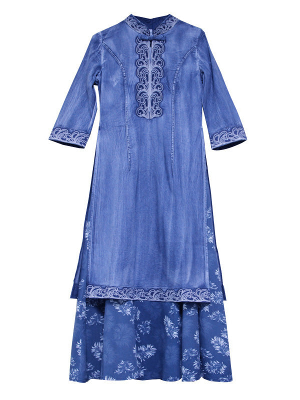 Retro Embroidered Split-joint Denim Dress