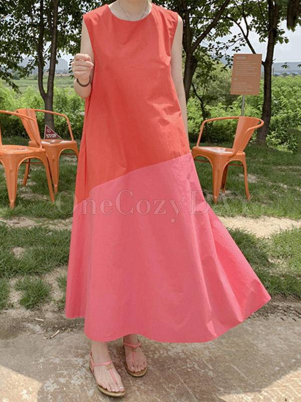 Casual A-Line Split-Joint Sleeveless Long Dress