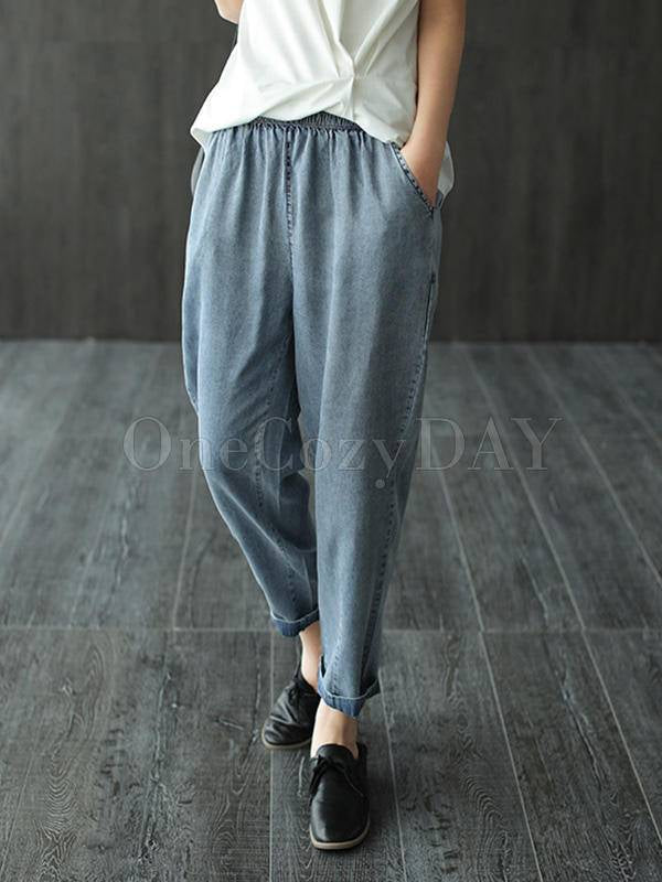 Loose Simple Comfortable Jean Harem Pants