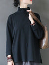 Solid Half-High Collar Long-Sleeved T-Shirt