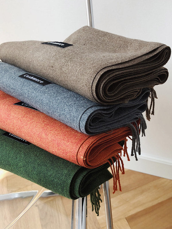 Solid Warm Thicken Tasseled Scarfs