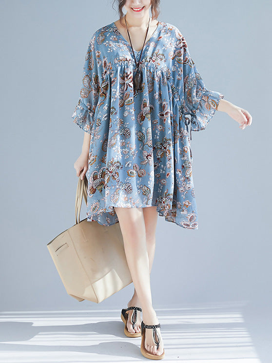 V-neck Fresh Loose Plus Size Floral Mini Dresses