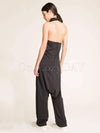 Black Heaps Collar Sleeveless Jumpsuits