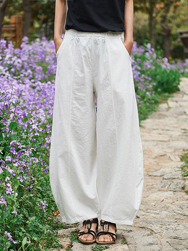 Retro Cotton Long Bloomer Pants