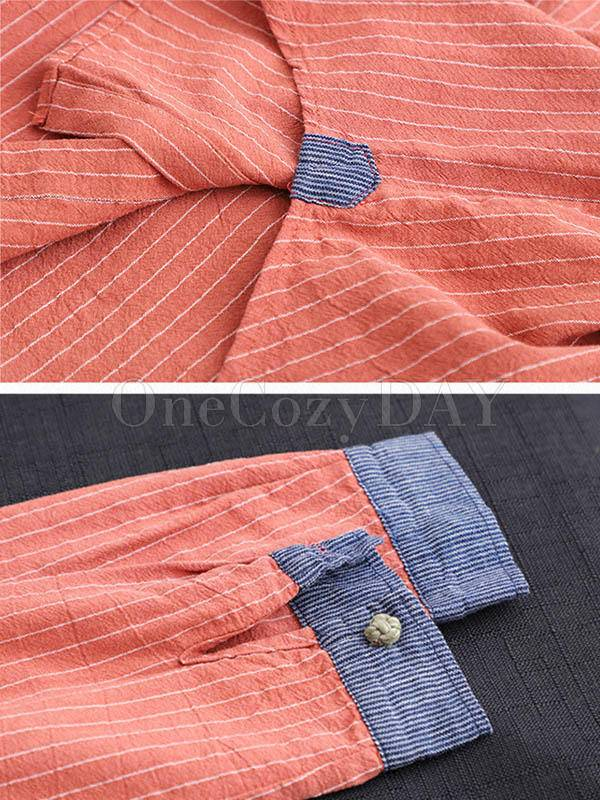 Splicing Patch Striped Shirt