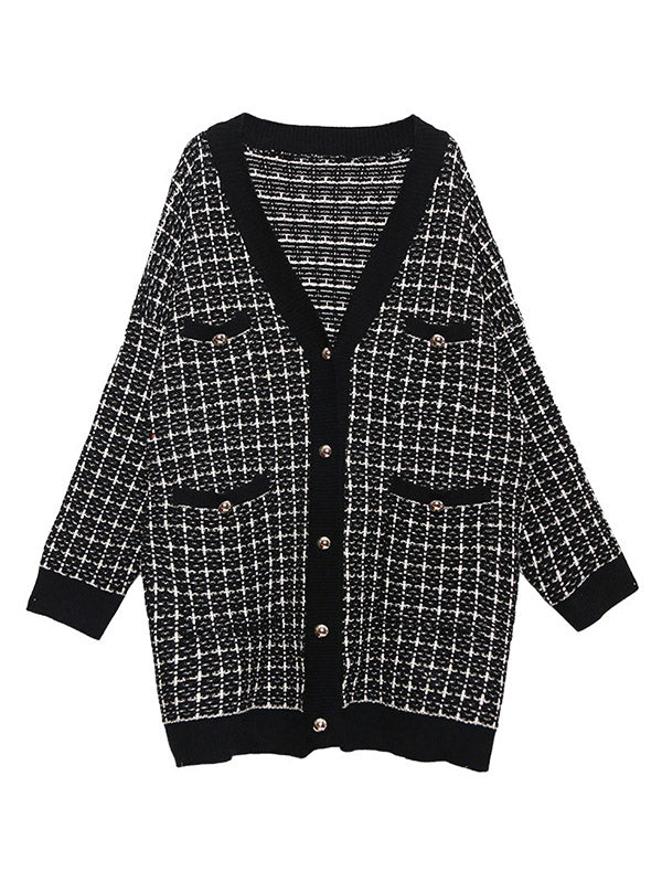 Loose Houndstooth V-Neck Sweater Outwear