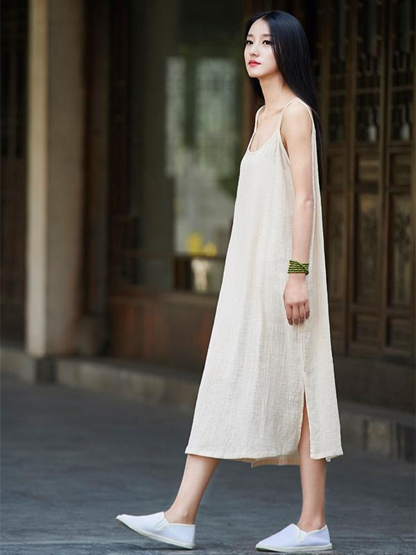 5 Colors  comfortable Ramie Cotton Sundress