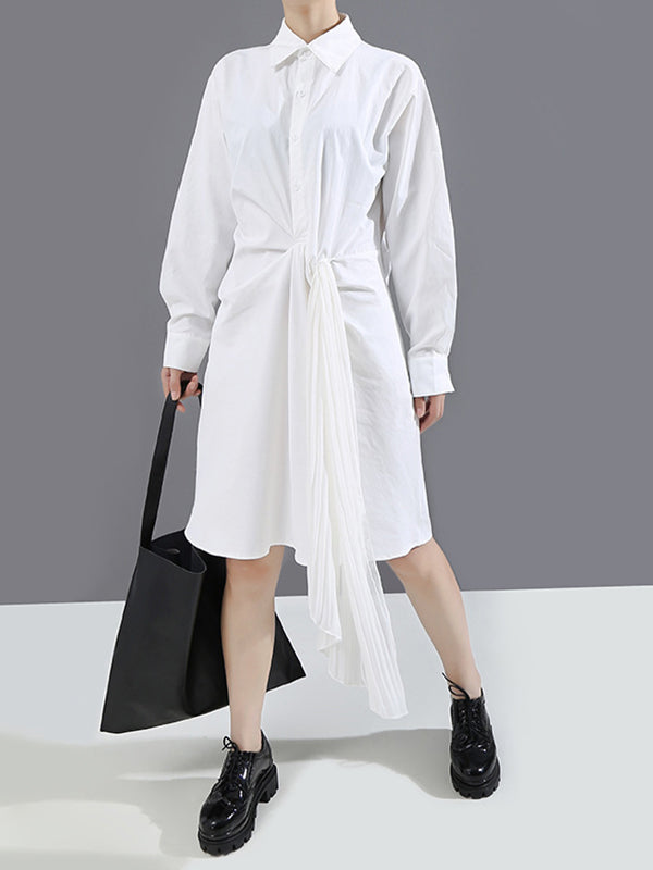 Solid Color Pleated Cropped Shirt Dress