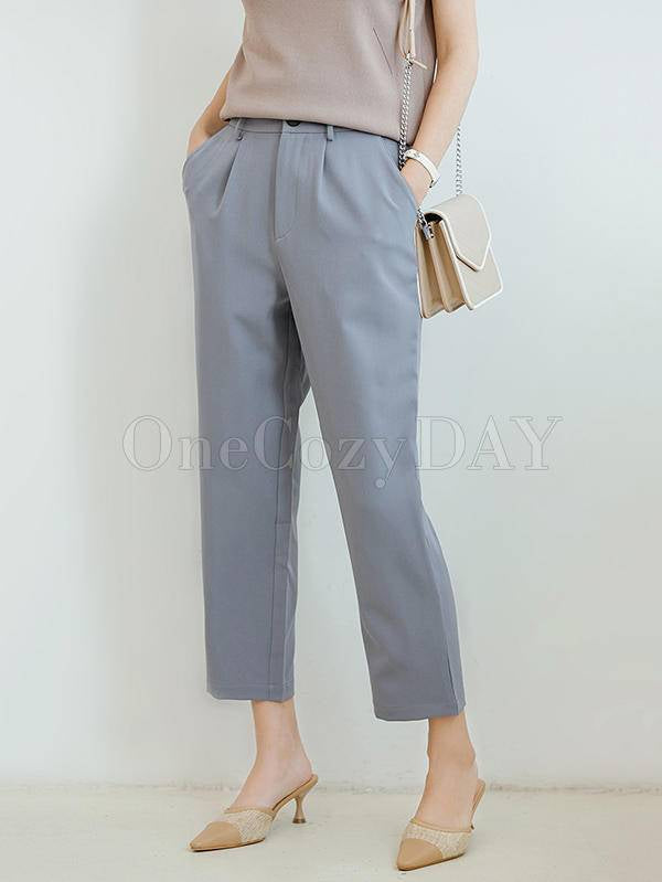 Solid Color Empire Straight Leg Pants