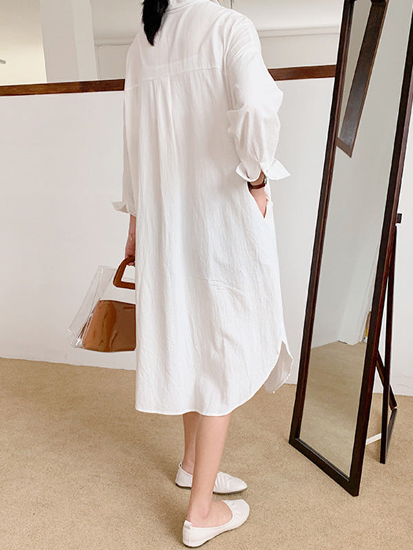 Loose Solid Ramie Cotton Shirt Dress