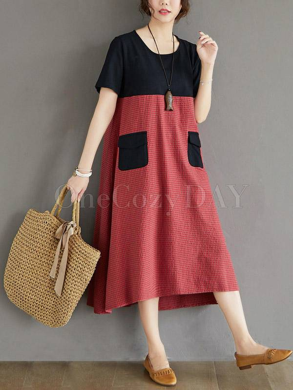 Contrast Color Splicing Plaid Loose Dress