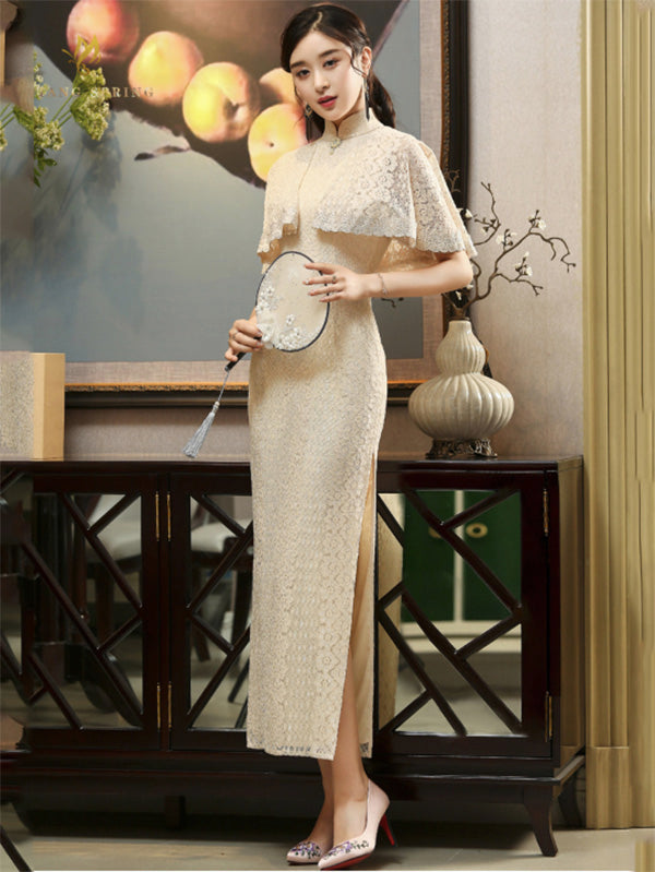 3 Colors Banquet Lace Split-side Long Cheongsam