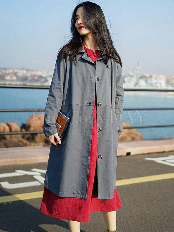 Loose Solid Color Doll-Neck Trench Outwear