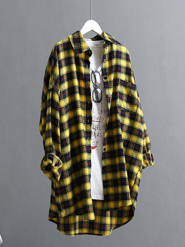 Casual Plaid Split-Joint Lapel Shirt