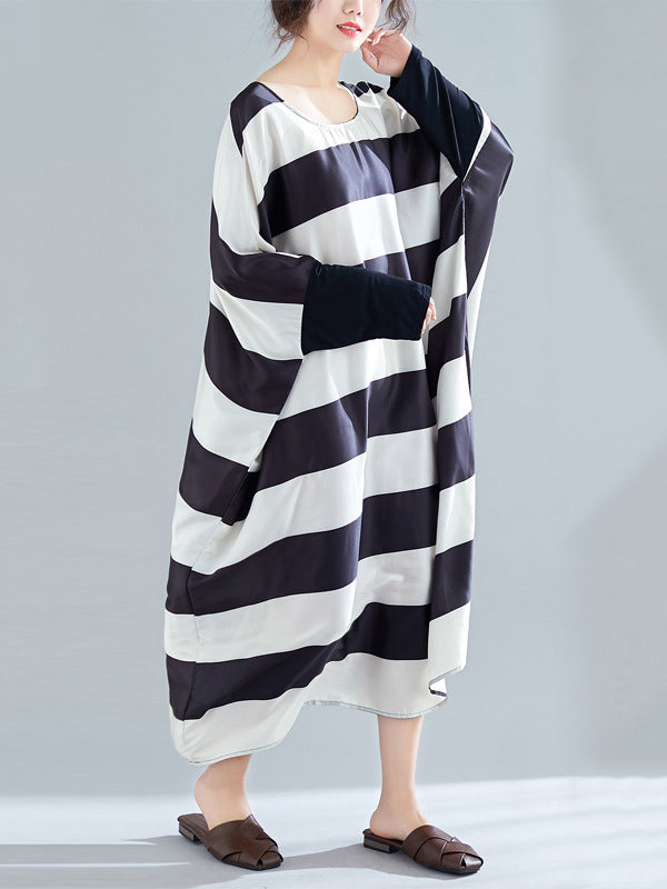 Black And White Striped Bat Sleeve Loose Dress