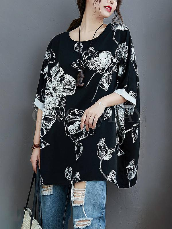Plus Size Loose Print Chiffon T-Shirt