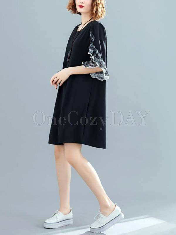 Original Chiffon Flared Sleeve Dress