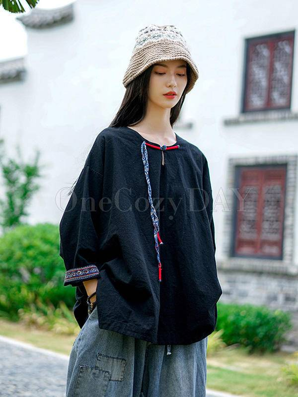 Vintage Loose Handmade Button Cropped T-Shirt