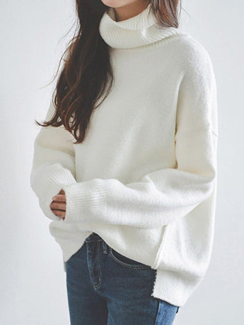 White Knitting Split-side High-neck Sweater