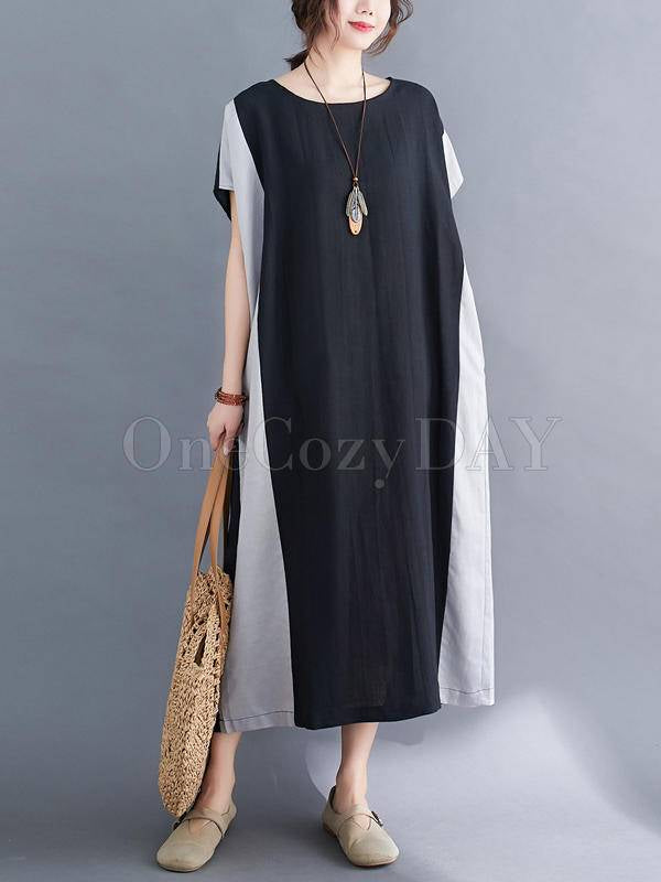 Loose Contrast Color Split-Joint Round Neck Dress
